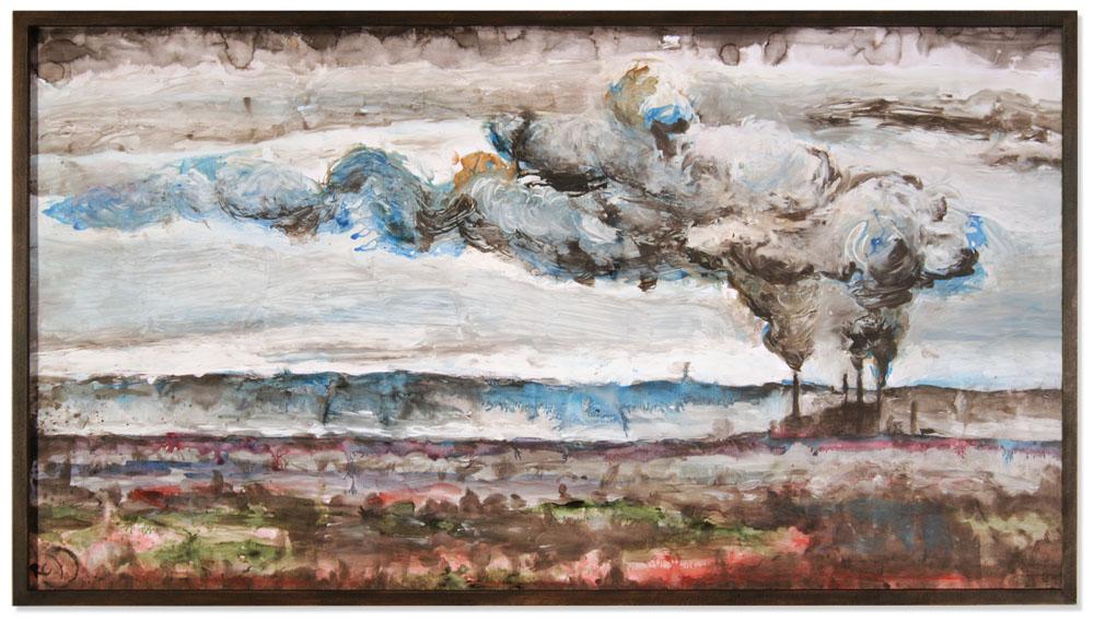 Wolken über der Rheinebene, März 2016, Tusche und Dispersion auf Papier, 130 x 70 cm, gerahmt