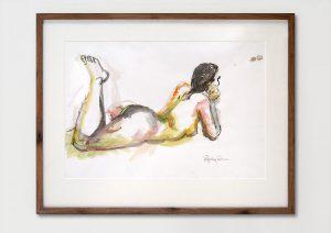 """Zeichnung gerahmt, Naturholzrahmen """"Nussbaum"""" 80 x 62 cm mit Passepartourt, verkauft/Privatbesitz"""